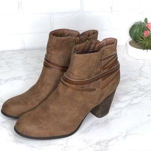Madden Girl Denice Brown Ankle Zip Booties